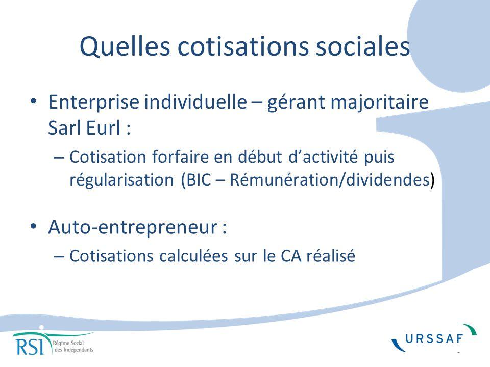 Quelles cotisations sociales Enterprise individuelle – gérant majoritaire Sarl Eurl : – Cotisation forfaire en début dactivité puis régularisation (BIC – Rémunération/dividendes) Auto-entrepreneur : – Cotisations calculées sur le CA réalisé 3