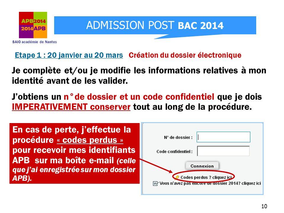 SAIO académie de Nantes ADMISSION POST BAC 2014 10 Je complète et/ou je modifie les informations relatives à mon identité avant de les valider. Jobtie