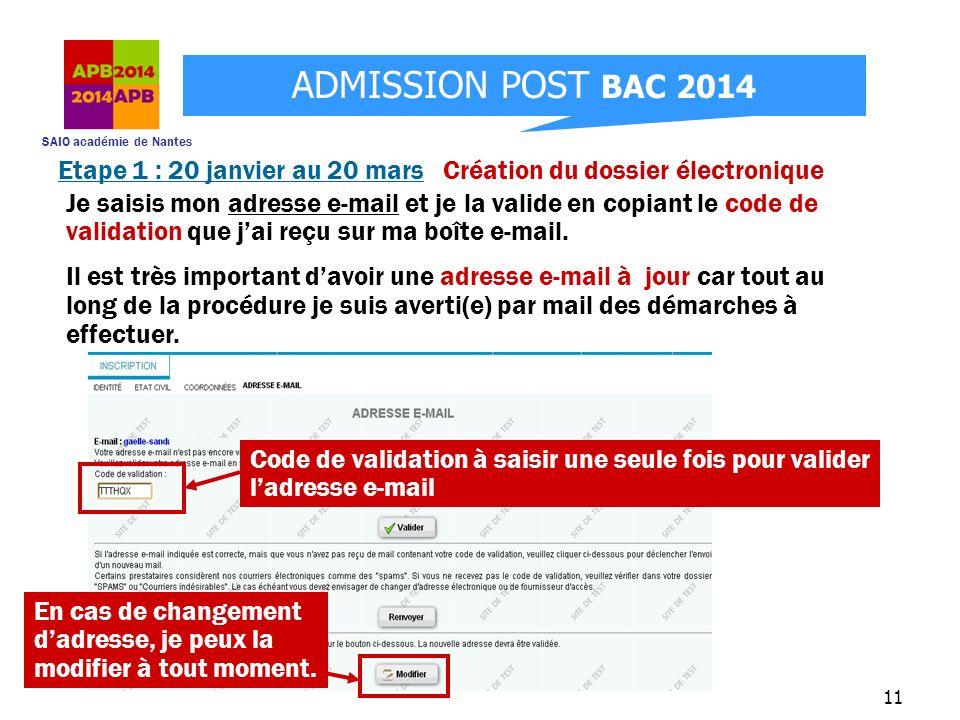 SAIO académie de Nantes ADMISSION POST BAC 2014 11 Je saisis mon adresse e-mail et je la valide en copiant le code de validation que jai reçu sur ma b