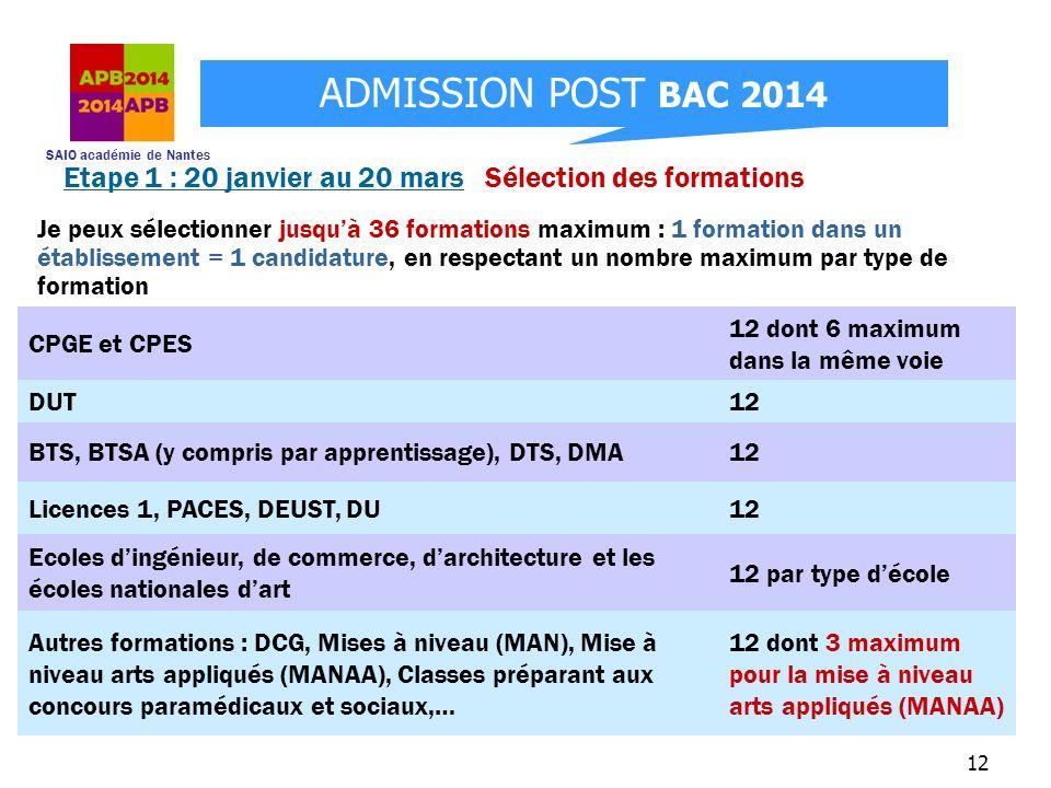 SAIO académie de Nantes ADMISSION POST BAC 2014 12 Je peux sélectionner jusquà 36 formations maximum : 1 formation dans un établissement = 1 candidatu