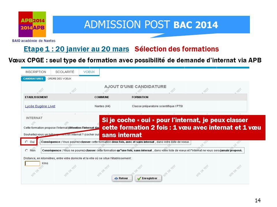 SAIO académie de Nantes ADMISSION POST BAC 2014 14 Etape 1 : 20 janvier au 20 mars Sélection des formations Si je coche « oui » pour linternat, je peu