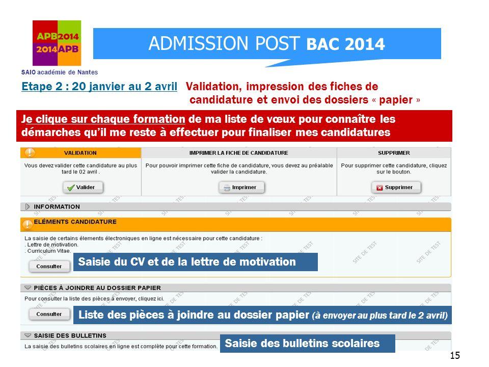 SAIO académie de Nantes ADMISSION POST BAC 2014 15 Etape 2 : 20 janvier au 2 avril Validation, impression des fiches de candidature et envoi des dossi
