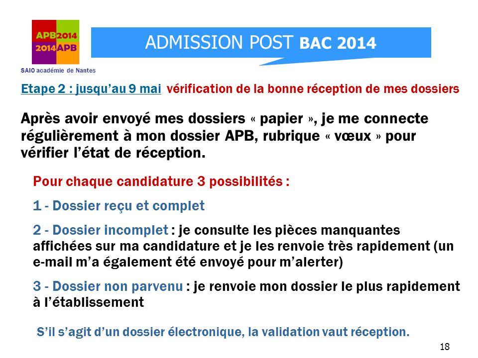 SAIO académie de Nantes ADMISSION POST BAC 2014 18 Etape 2 : jusquau 9 mai vérification de la bonne réception de mes dossiers Après avoir envoyé mes d