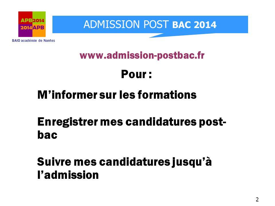 SAIO académie de Nantes ADMISSION POST BAC 2014 2 Pour : Minformer sur les formations Enregistrer mes candidatures post- bac Suivre mes candidatures j