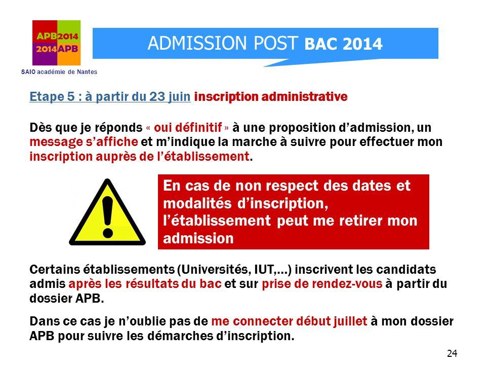 SAIO académie de Nantes ADMISSION POST BAC 2014 24 Etape 5 : à partir du 23 juin inscription administrative Dès que je réponds « oui définitif » à une
