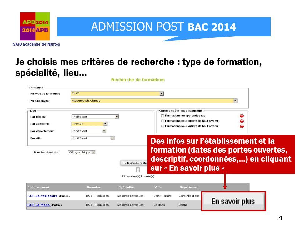 SAIO académie de Nantes ADMISSION POST BAC 2014 4 Des infos sur létablissement et la formation (dates des portes ouvertes, descriptif, coordonnées,…)