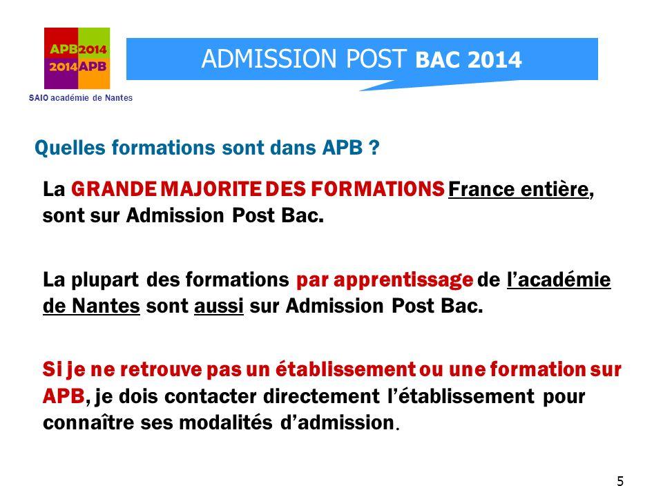 SAIO académie de Nantes ADMISSION POST BAC 2014 6 APB : une procédure en 5 étapes Etape 1 : 20 janvier au 20 mars Création du dossier électronique et sélection des formations.