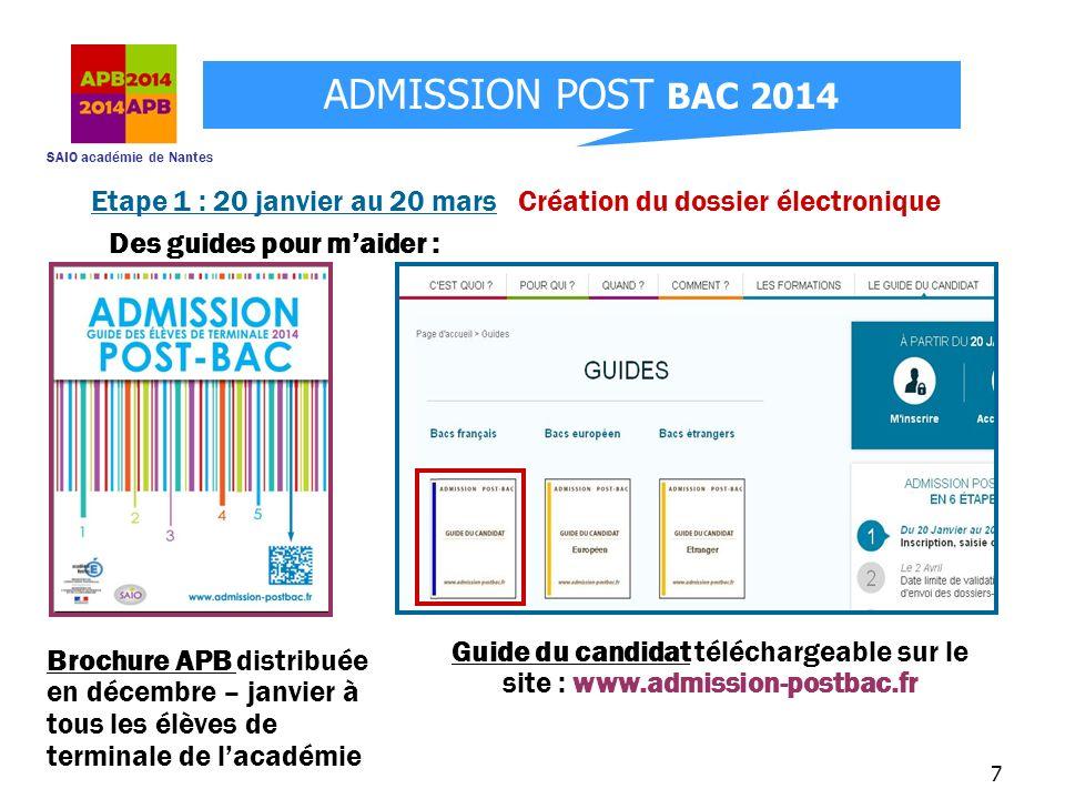 SAIO académie de Nantes ADMISSION POST BAC 2014 18 Etape 2 : jusquau 9 mai vérification de la bonne réception de mes dossiers Après avoir envoyé mes dossiers « papier », je me connecte régulièrement à mon dossier APB, rubrique « vœux » pour vérifier létat de réception.