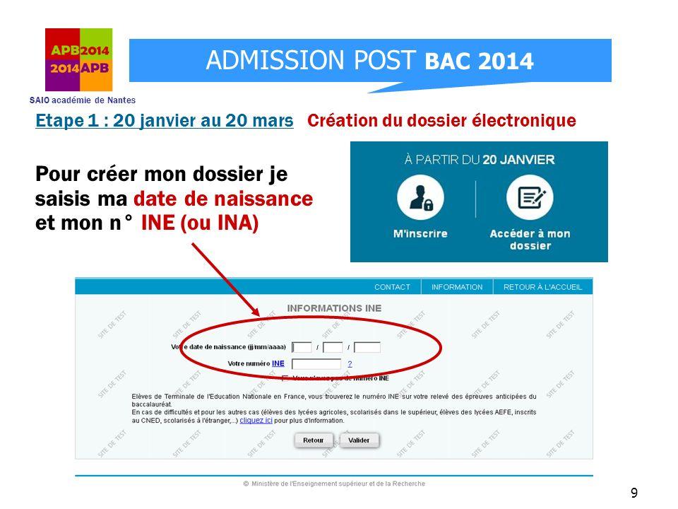 SAIO académie de Nantes ADMISSION POST BAC 2014 9 Pour créer mon dossier je saisis ma date de naissance et mon n° INE (ou INA) Etape 1 : 20 janvier au