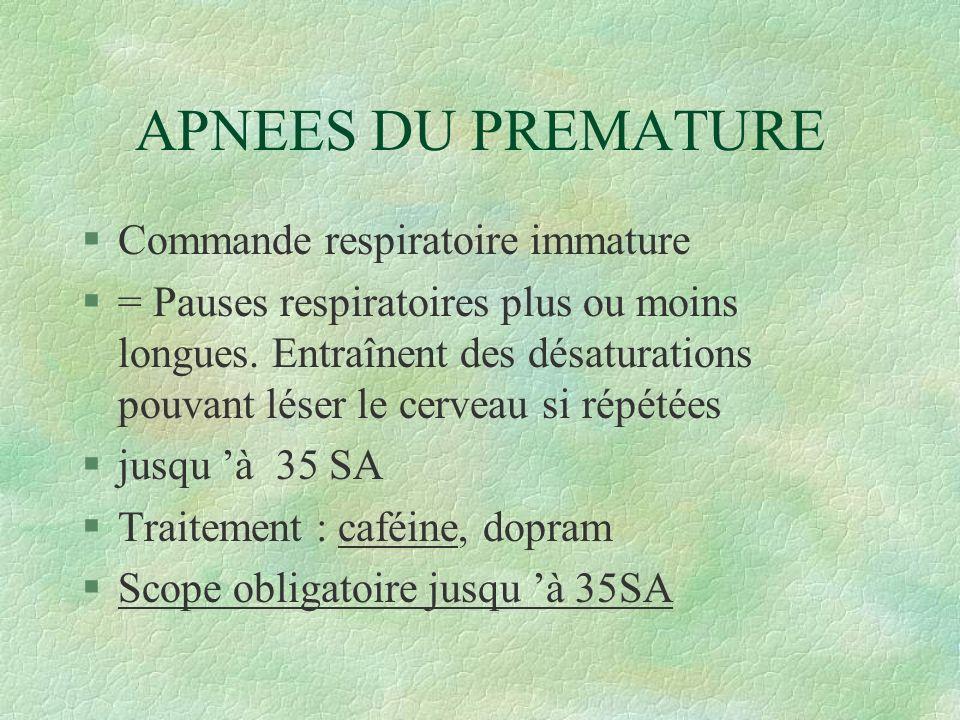 APNEES DU PREMATURE §Commande respiratoire immature §= Pauses respiratoires plus ou moins longues.
