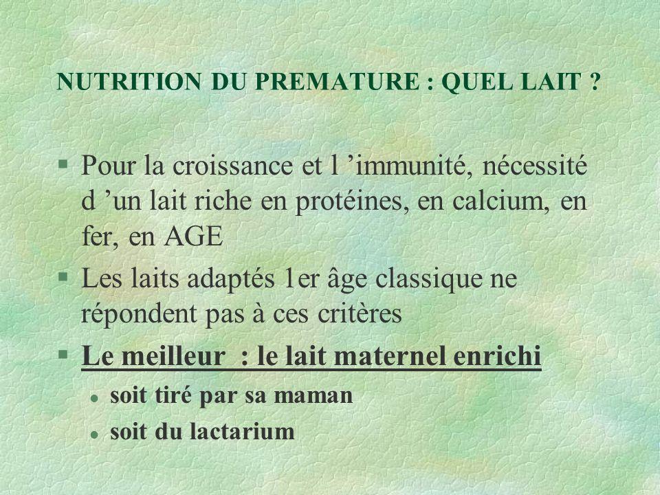 NUTRITION DU PREMATURE : QUEL LAIT .