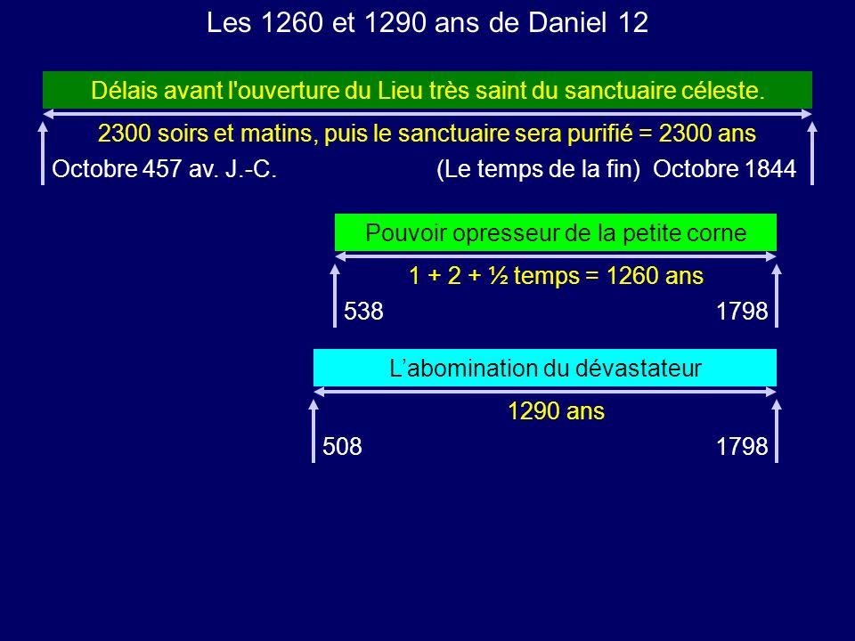 2300 soirs et matins, puis le sanctuaire sera purifié = 2300 ans Les 1260 et 1290 ans de Daniel 12 Délais avant l'ouverture du Lieu très saint du sanc