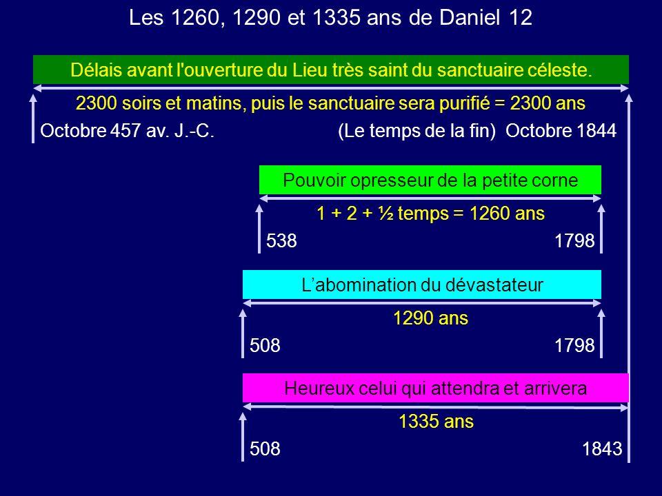 2300 soirs et matins, puis le sanctuaire sera purifié = 2300 ans Les 1260, 1290 et 1335 ans de Daniel 12 Délais avant l'ouverture du Lieu très saint d