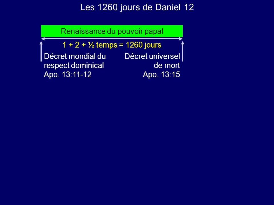 Les 1260 jours de Daniel 12 Renaissance du pouvoir papal 1 + 2 + ½ temps = 1260 jours Décret mondial du respect dominical Apo. 13:11-12 Décret univers