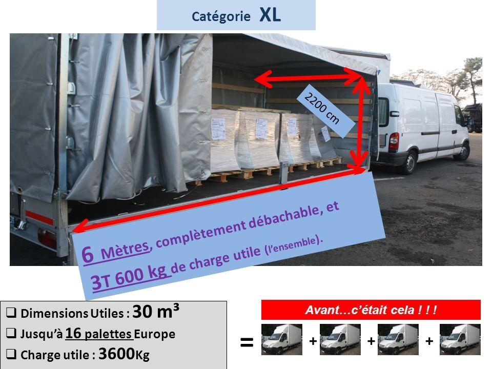 T Dimensions Utiles : 30 m³ Jusquà 16 palettes Europe Charge utile : 3600 Kg 6 Mètres, complètement débachable, et 3 T 600 kg de charge utile ( lensem