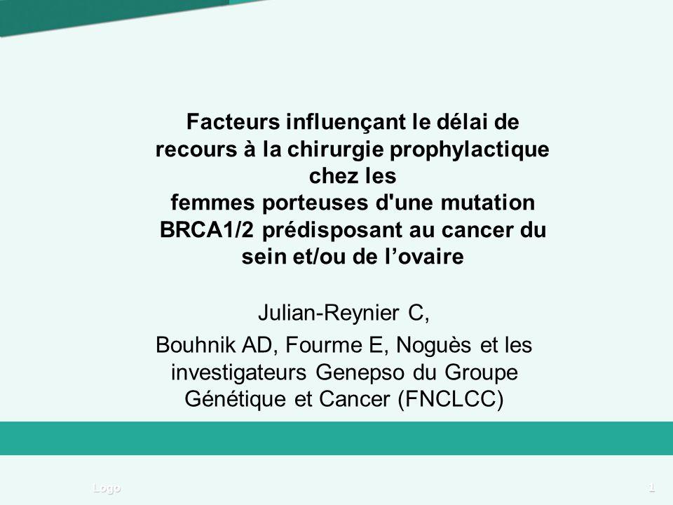 1 Logo Facteurs influençant le délai de recours à la chirurgie prophylactique chez les femmes porteuses d une mutation BRCA1/2 prédisposant au cancer du sein et/ou de lovaire Julian-Reynier C, Bouhnik AD, Fourme E, Noguès et les investigateurs Genepso du Groupe Génétique et Cancer (FNCLCC)