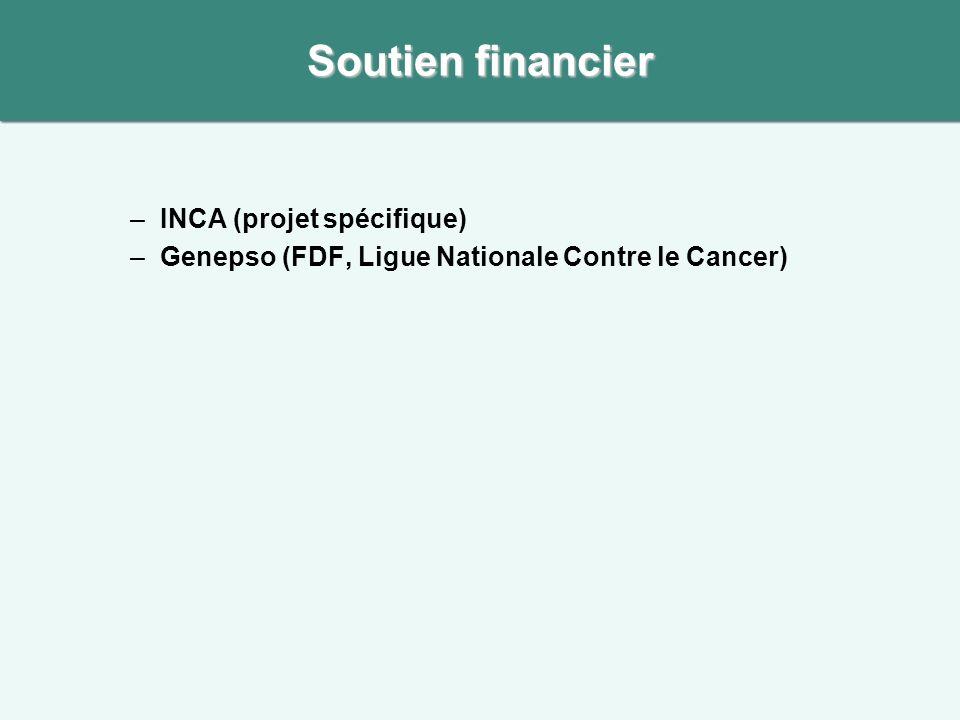 –INCA (projet spécifique) –Genepso (FDF, Ligue Nationale Contre le Cancer) Soutien financier