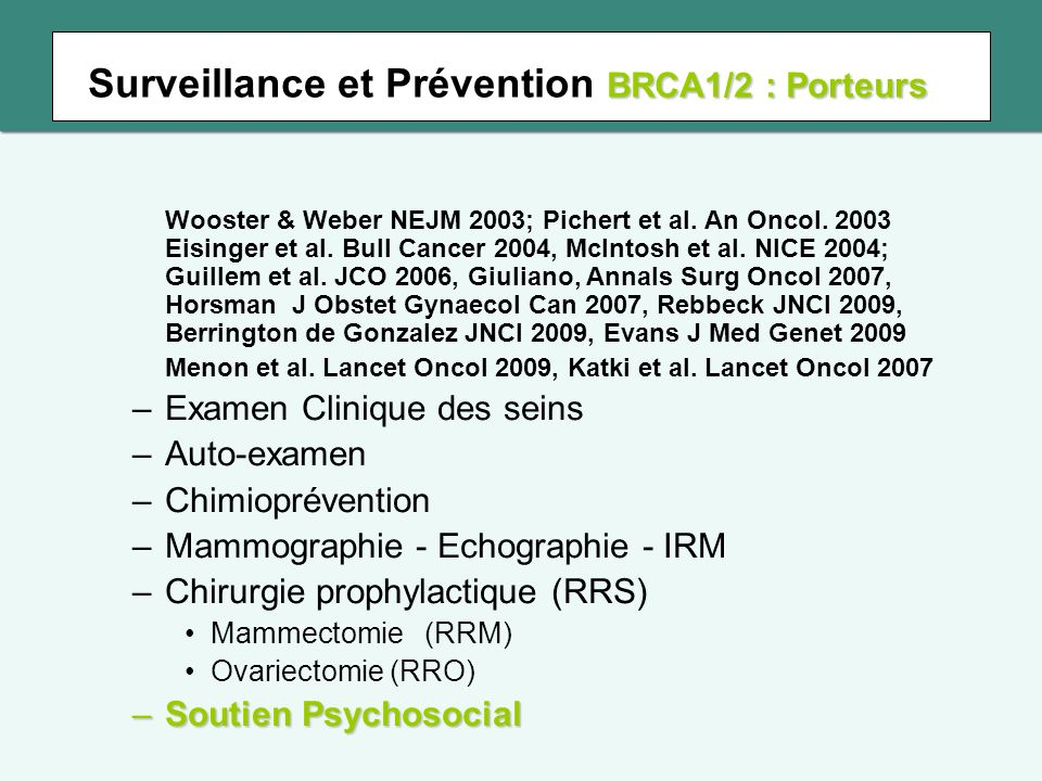 Objectifs Description 1.Des comportements de chirurgie prophylactique 2.Et des facteurs associés au délai de recours Jusquà 5 ans Jusquà 5 ans après le rendu de résultats des tests BRCA1/2 Femmes non malades et porteuses dune mutation BRCA1/2 Femmes non malades et porteuses dune mutation BRCA1/2 contexte de routine contexte de routine