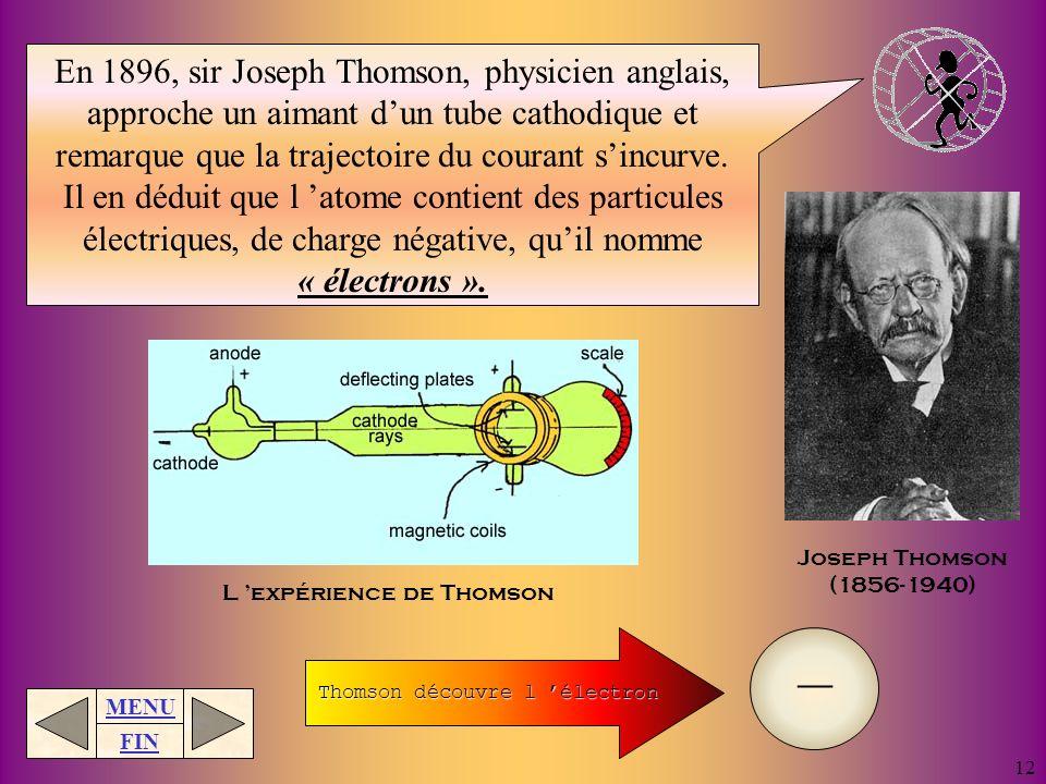 MENU FIN 11 Il soutient ensuite que les atomes d un même élément sont identiques et ont la même masse. Il met aussi de l ordre en recensant tous les é