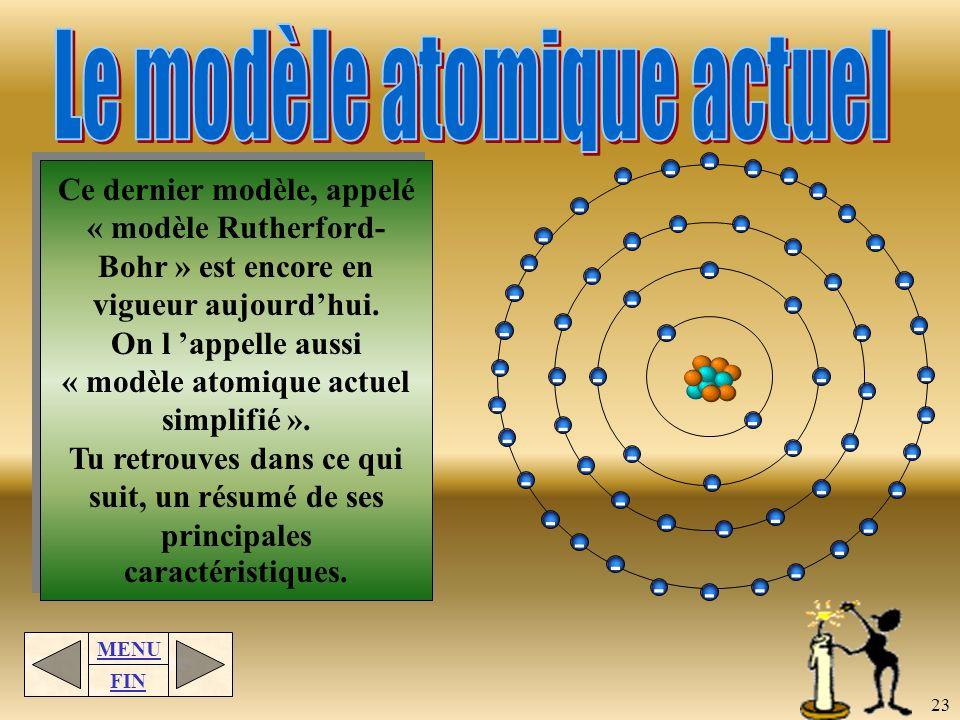 MENU FIN 22 James Chadwick améliore le modèle de Bohr en 1932 en apportant une solution au problème mentionné. Il déduit que comme le noyau néclate pa