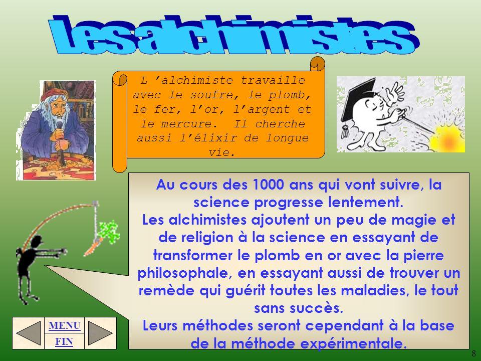 MENU FIN 7 Selon Aristote, la matière est continue, cest-à-dire quelle occupe tout lespace, sans vide. Il ajoute que leau, lair, la terre et le feu se