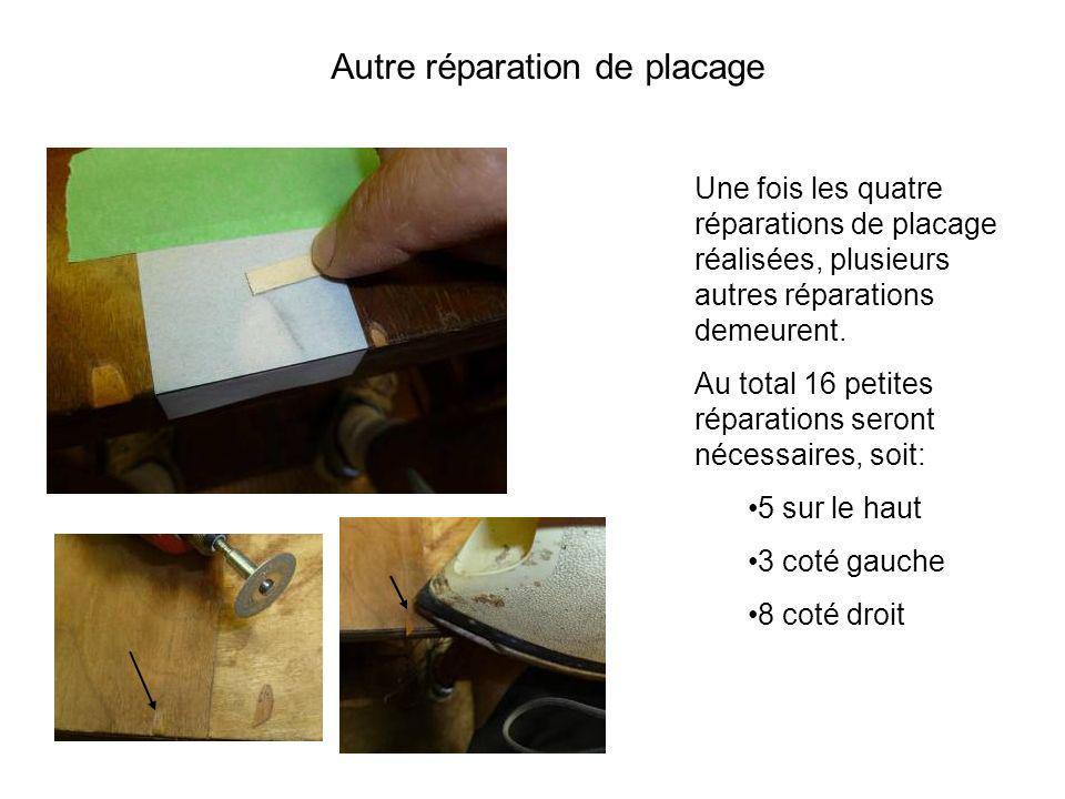 Une fois les quatre réparations de placage réalisées, plusieurs autres réparations demeurent. Au total 16 petites réparations seront nécessaires, soit