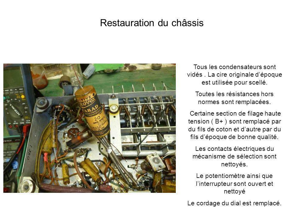 Tous les condensateurs sont vidés. La cire originale dépoque est utilisée pour scellé. Toutes les résistances hors normes sont remplacées. Certaine se