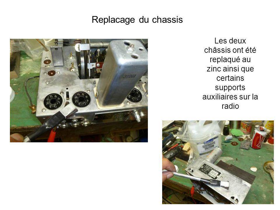 Les deux châssis ont été replaqué au zinc ainsi que certains supports auxiliaires sur la radio Replacage du chassis