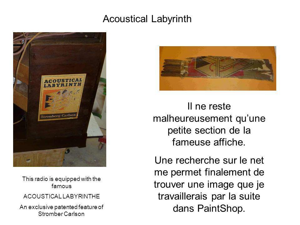 Acoustical Labyrinth Il ne reste malheureusement quune petite section de la fameuse affiche. Une recherche sur le net me permet finalement de trouver