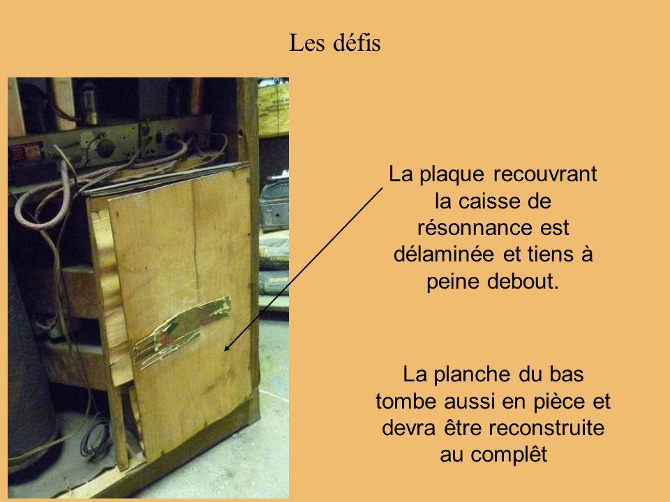 Les défis La plaque recouvrant la caisse de résonnance est délaminée et tiens à peine debout. La planche du bas tombe aussi en pièce et devra être rec