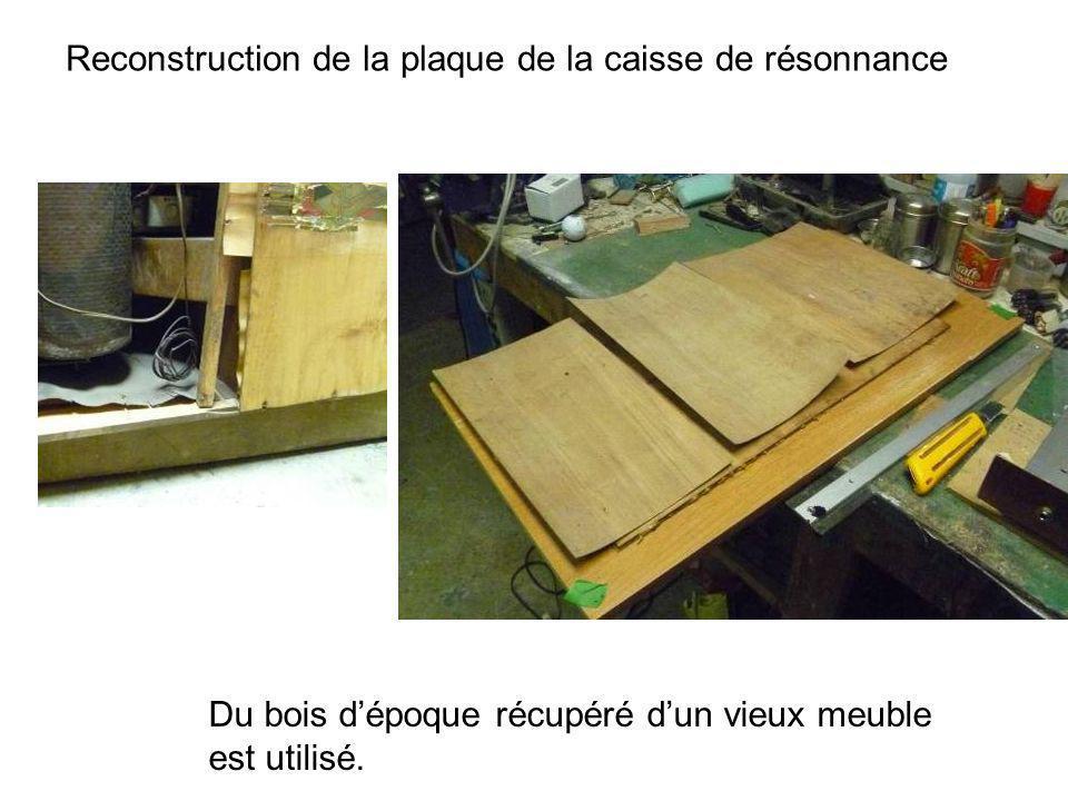 Début de la restauration du haut Avant de pensé au placage, il est nécessaire de recoller les premières couches de bois Une section de mélamine est taillée afin dappuyer seulement sur les couches inférieures de bois Placage du haut