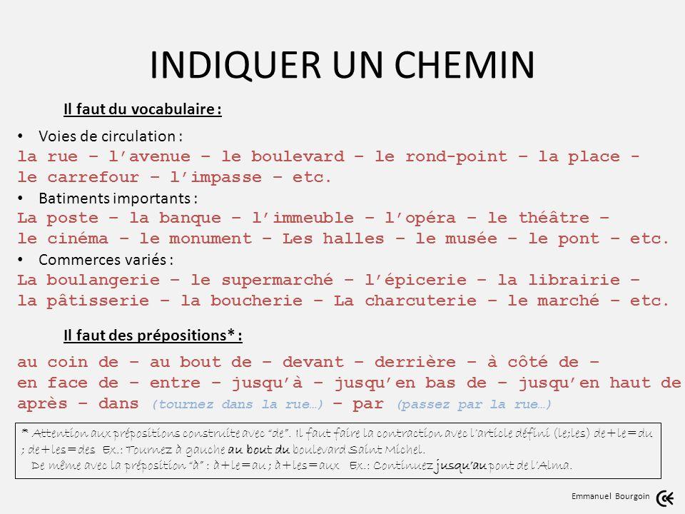 INDIQUER UN CHEMIN Emmanuel Bourgoin Il faut du vocabulaire : Voies de circulation : la rue – lavenue – le boulevard – le rond-point – la place - le carrefour – limpasse – etc.
