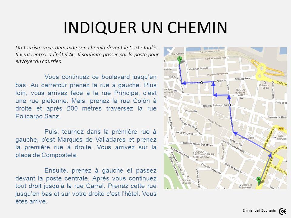 INDIQUER UN CHEMIN Emmanuel Bourgoin Un touriste vous demande son chemin devant le Corte Inglés.