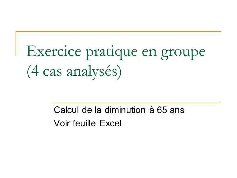 Exercice pratique en groupe (4 cas analysés) Calcul de la diminution à 65 ans Voir feuille Excel