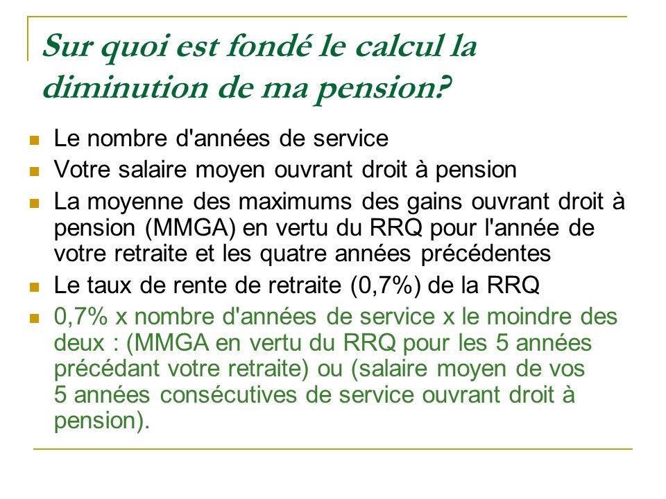 Sur quoi est fondé le calcul la diminution de ma pension? Le nombre d'années de service Votre salaire moyen ouvrant droit à pension La moyenne des max