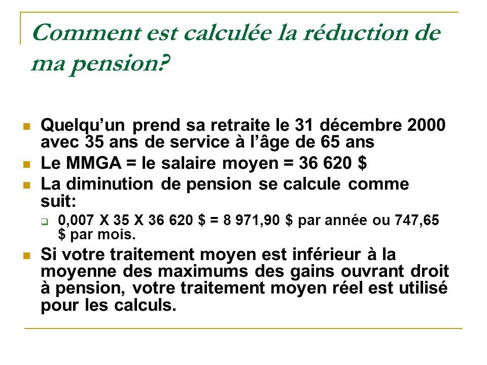 Comment est calculée la réduction de ma pension? Quelquun prend sa retraite le 31 décembre 2000 avec 35 ans de service à lâge de 65 ans Le MMGA = le s