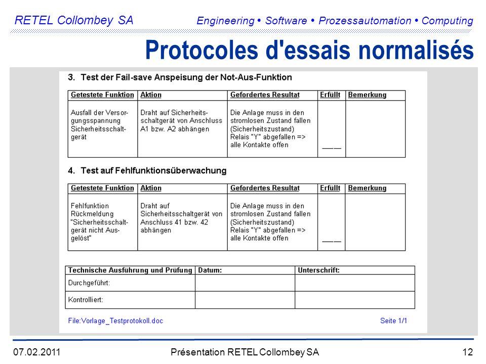 RETEL Collombey SA Engineering Software Prozessautomation Computing 07.02.2011Présentation RETEL Collombey SA12 Protocoles d essais normalisés