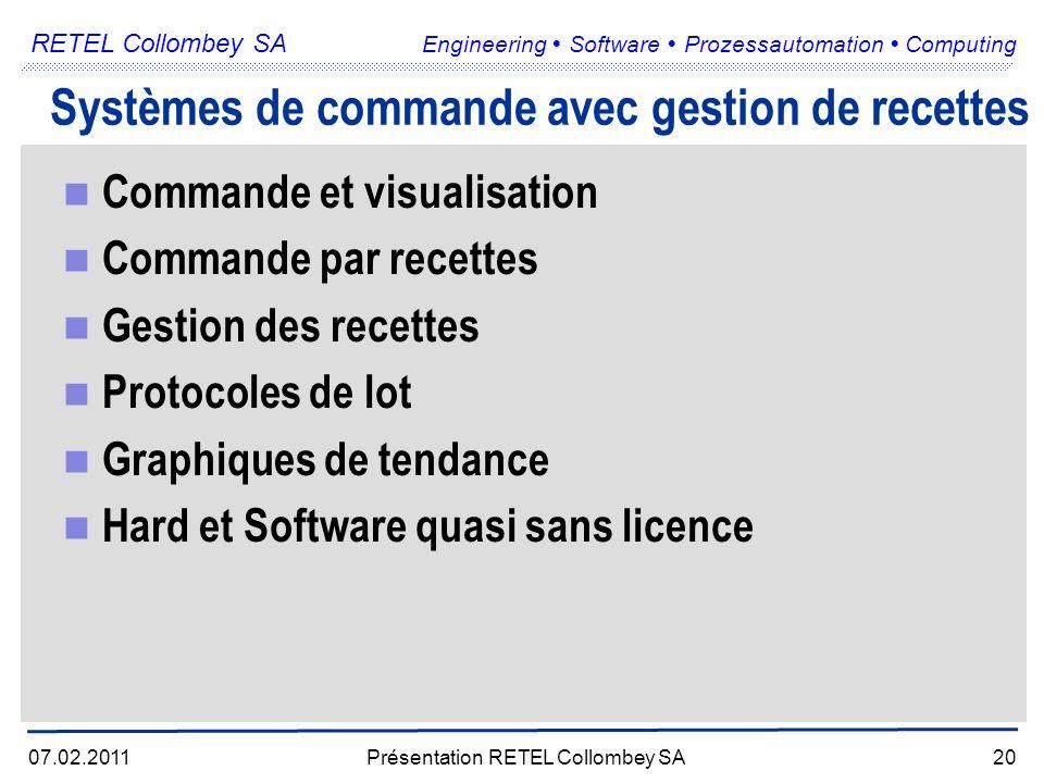 RETEL Collombey SA Engineering Software Prozessautomation Computing 07.02.2011Présentation RETEL Collombey SA20 Systèmes de commande avec gestion de recettes Commande et visualisation Commande par recettes Gestion des recettes Protocoles de lot Graphiques de tendance Hard et Software quasi sans licence