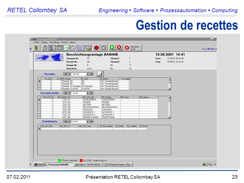 RETEL Collombey SA Engineering Software Prozessautomation Computing 07.02.2011Présentation RETEL Collombey SA23 Gestion de recettes