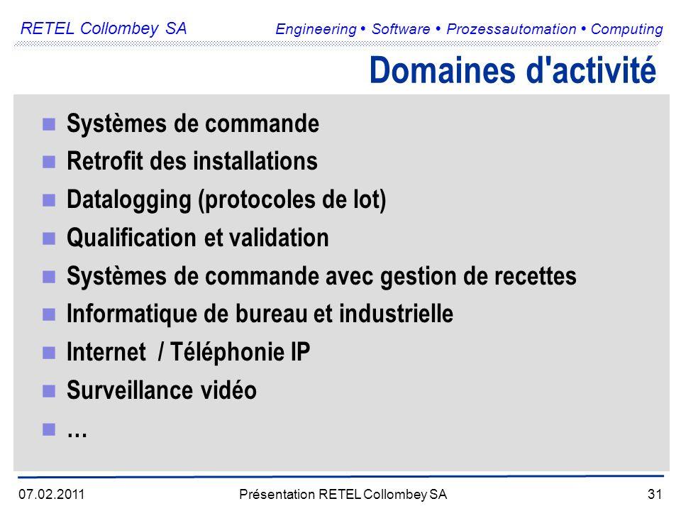 RETEL Collombey SA Engineering Software Prozessautomation Computing 07.02.2011Présentation RETEL Collombey SA31 Domaines d activité Systèmes de commande Retrofit des installations Datalogging (protocoles de lot) Qualification et validation Systèmes de commande avec gestion de recettes Informatique de bureau et industrielle Internet / Téléphonie IP Surveillance vidéo …