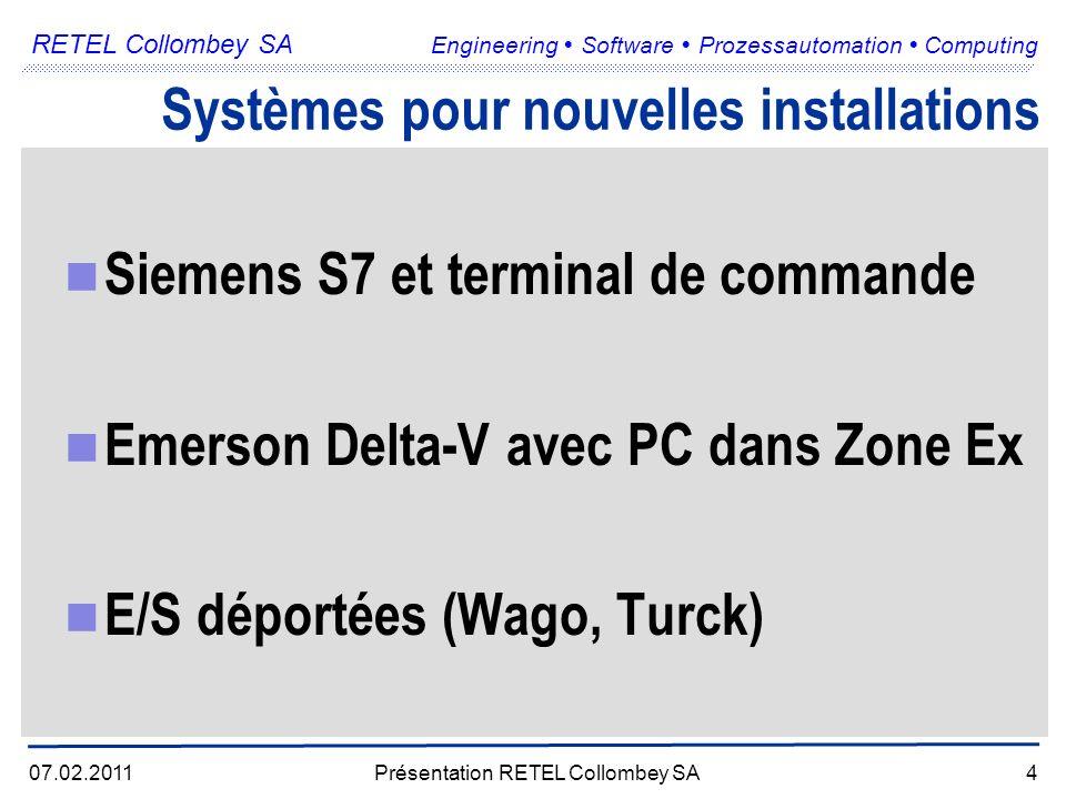 RETEL Collombey SA Engineering Software Prozessautomation Computing 07.02.2011Présentation RETEL Collombey SA4 Systèmes pour nouvelles installations Siemens S7 et terminal de commande Emerson Delta-V avec PC dans Zone Ex E/S déportées (Wago, Turck)