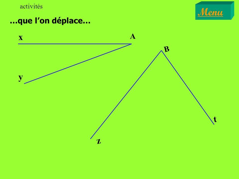 Définition leçon Deux angles qui ont: Menu y O z x - le même sommet, - un côté commun, - les deux autres côtés situés de part et dautres du côté commun, sont appelés angles adjacents.