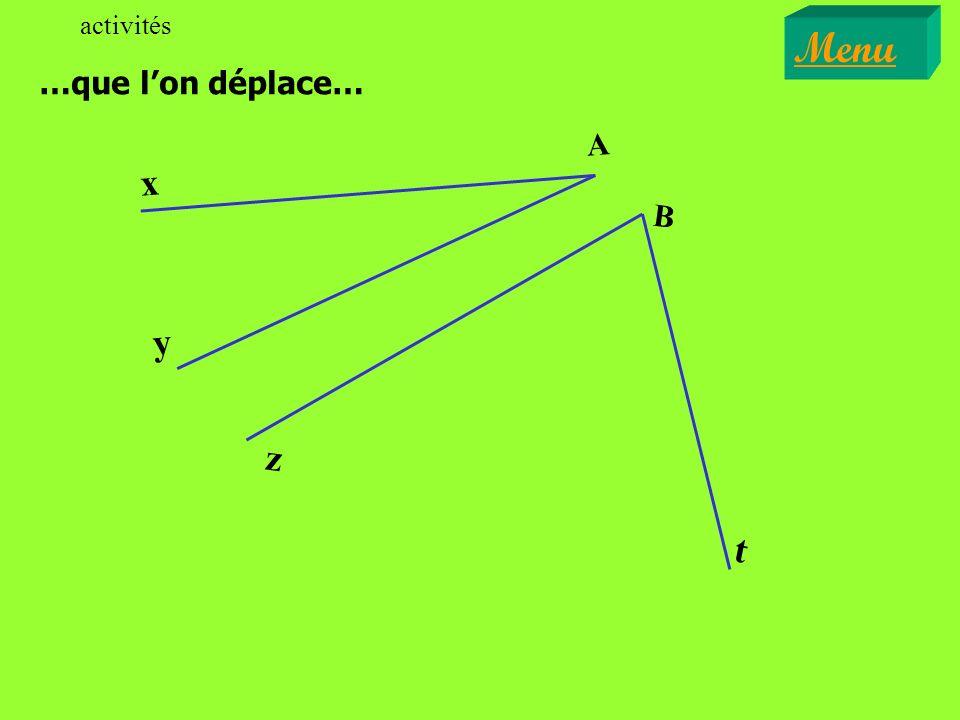 Oui, ces deux angles sont adjacents. Menu Exercices x y z 0