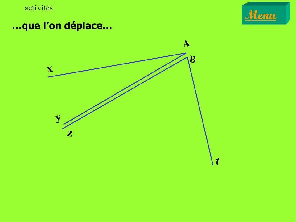 x y z A B CM Cite toutes les paires dangles adjacents. EXERCICE II Menu Exercices