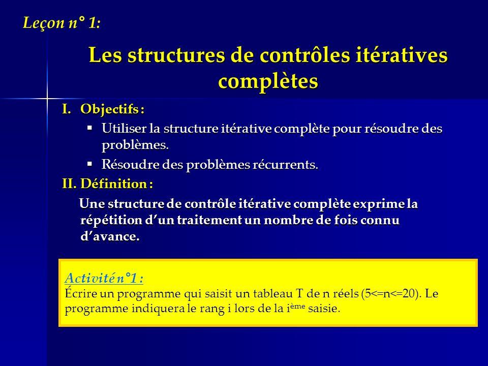 Les structures de contrôles itératives complètes I.Objectifs : Utiliser la structure itérative complète pour résoudre des problèmes. Utiliser la struc
