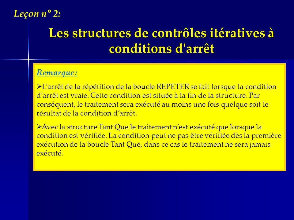 Remarque : Larrêt de la répétition de la boucle REPETER se fait lorsque la condition darrêt est vraie. Cette condition est située à la fin de la struc