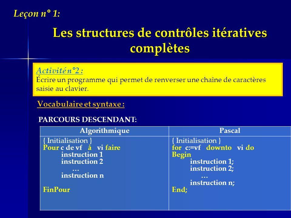 Vocabulaire et syntaxe : Algorithmique Pascal { Initialisation } Pour c de vf à vi faire instruction 1 instruction 2 … instruction n FinPour { Initial