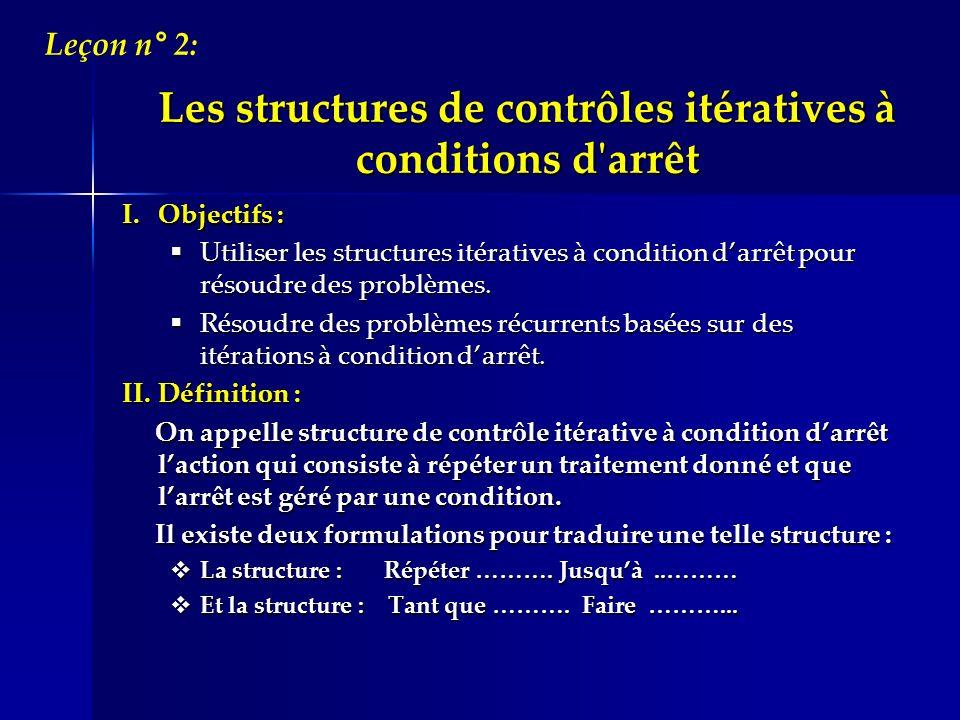 I.Objectifs : Utiliser les structures itératives à condition darrêt pour résoudre des problèmes. Utiliser les structures itératives à condition darrêt