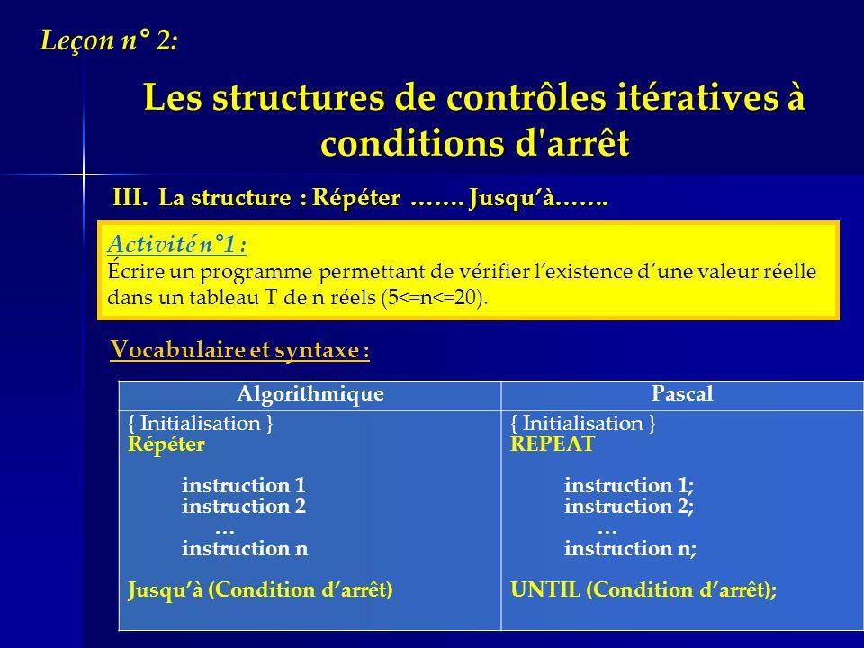 Vocabulaire et syntaxe : Algorithmique Pascal { Initialisation } Répéter instruction 1 instruction 2 … instruction n Jusquà (Condition darrêt) { Initi