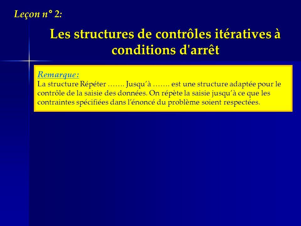Remarque : La structure Répéter ……. Jusquà ……. est une structure adaptée pour le contrôle de la saisie des données. On répète la saisie jusquà ce que